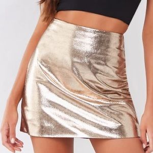 Forever 21 Metallic Silver Faux Leather Skirt Sz M